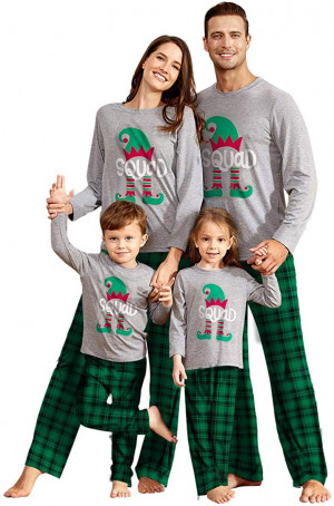 IFFEI Matching Family Pajamas Sets Holiday at Home PJs with Letter Printed Long Sleeve Tee and Plaid Pants